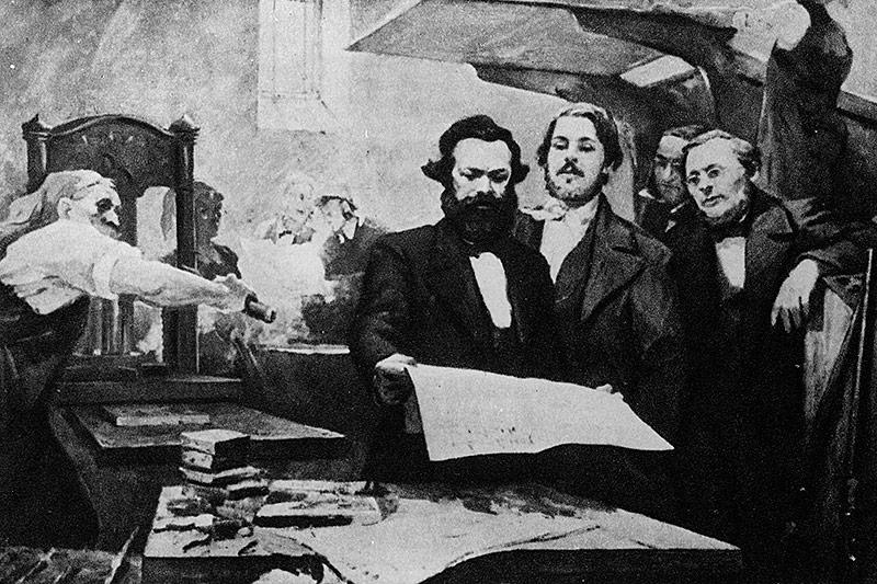 Zeichnung von Marx und Engels in einer Druckerei