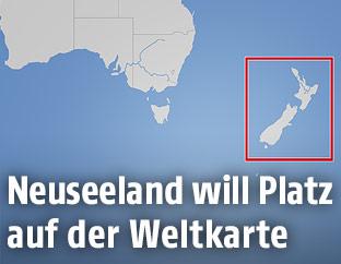 Karte zeigt Neuseeland