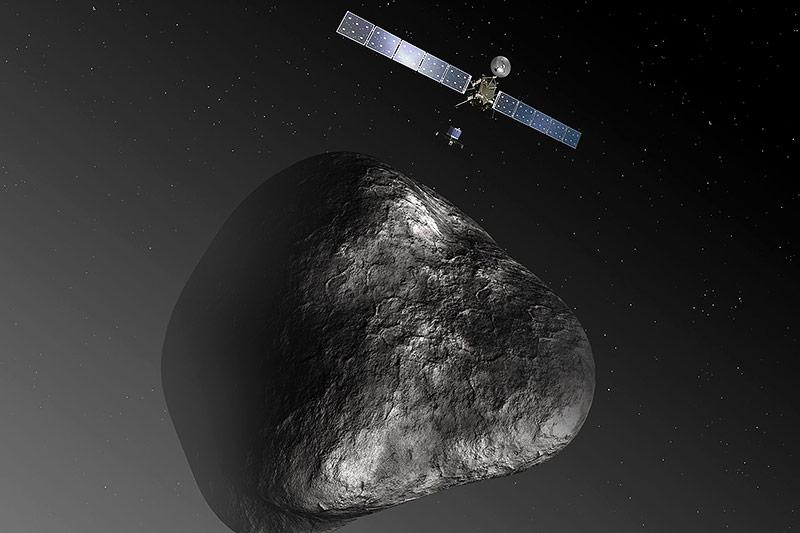 Rendering von Rosetta und eines Kometen
