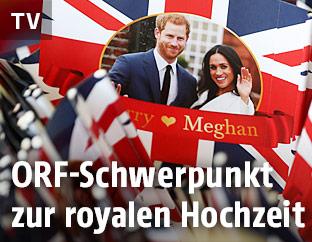 Souveniers und Flaggen zur bevorstehenden Hochzeit zwischen Prinz Harry und Meghan Markle