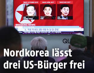 Fernsehr zeigt Fotos der drei freigelassenen US-Bürger