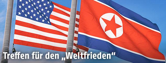Die amerikanische und die nordkoreanische Flagge