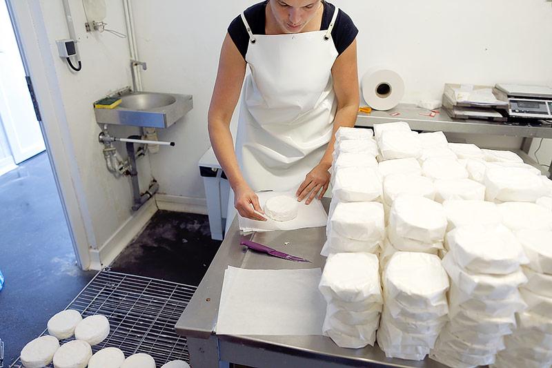 Frau verpackt in einer Käsemacherei in der Normandie einen Camembert