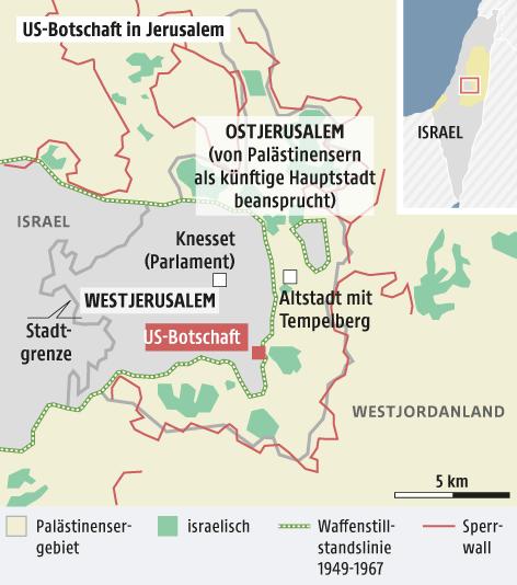 Grafik zur US-Botschaft in Jerusalem