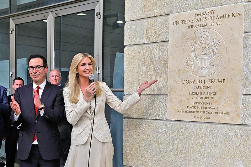 Ivanka Trump vor der eröffneten US-Botschaft in Jerusalem
