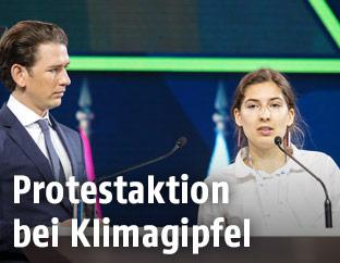 Bundeskanzler Sebastian Kurz und Umweltschutzaktivistin