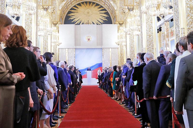 Zuschauer bei der Angelobung von Russlands Präsidenten Wladimir Putin