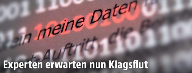 """Der Abschnitt """"meine Daten"""" einer Musterdatenschutzerklärung wird von roten Einsen und Nullen hervorgehoben"""