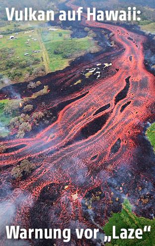 Lavastrom zieht sich durch bewohntes Gebiet nahe Pahoa, Hawaii