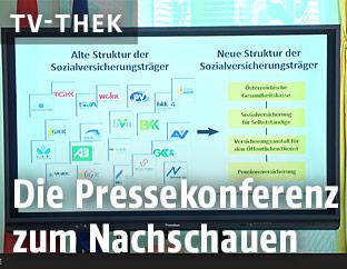 Bei Pressekonferenz gezeigter Screenshot der neuen Struktur der Sozialversicherungen