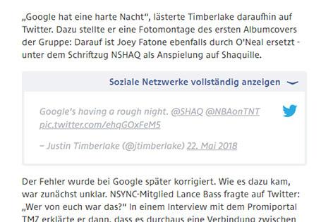 Social-Media-Hinweis auf ORF.at