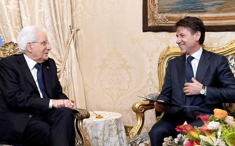 Italiens Staatspräsident Sergio Mattarella und designierter Ministerpräsident Guiseppe Conte