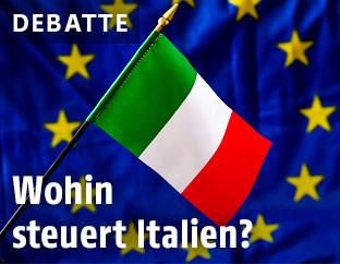 Italien-Flagge vor EU-Flagge