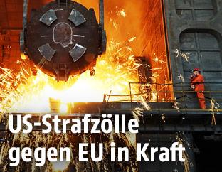 Arbeit in einem Stahlwerk