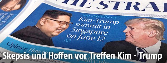 Zeitung zeigt Kim Jong-Un und Donald Trump