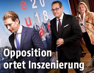 Sebastian Kurz, Heinz Christian Strache und Karin Kneissl
