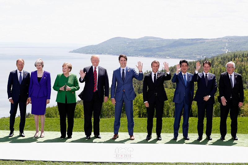 Familienfoto der Teilnehmer am G-7-Gipfel in Quebec