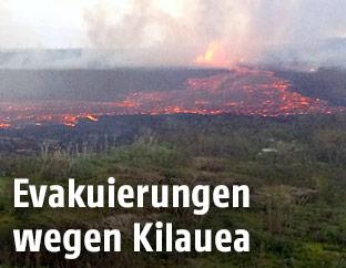 Lavafluss des Vulkans Kilauea auf Hawaii