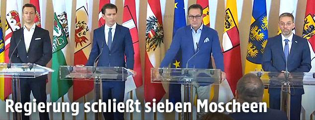 Kanzleramtsminister Gernot Blümel, Kanzler Sebastian Kurz, Vizekanzler Heinz Christian Strache und Innenminister Herbert Kickl