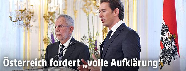 Bundespräsident Alexander Van der Bellen und Bundeskanzler Sebastian Kurz (ÖVP)