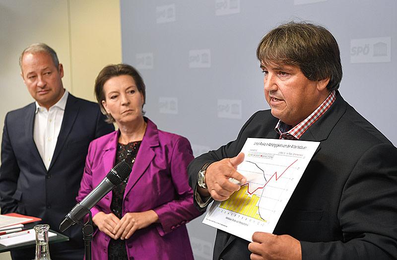 SPÖ-Klubchef Andreas Schieder, Gabriele Heinisch-Hosek und Josef Muchitsch im Rahmen einer PK der SPÖ