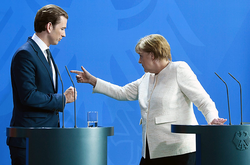Bundeskanzler Sebastian Kurz und die deutsche Bundeskanzlerin Angela Merkel