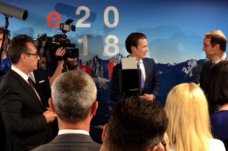 Vizekanzler Strache, Kanzler Kurz und EU-Botschafter Marschik im Juni in Brüssel
