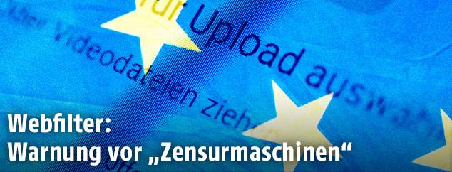 Youtube-Uploadseite mit EU Fahne