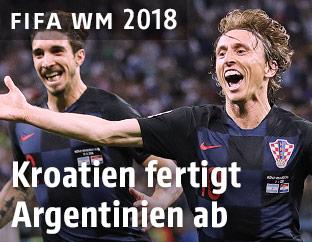 Luka Modric (Kroatien) jubelt