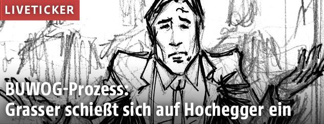 Zeichnung von Karl-Heinz Grasser aus dem Gerichtssaal