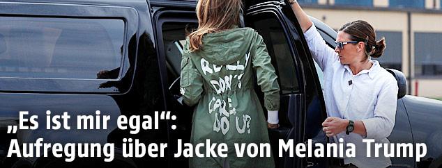 """Melania Trump trägt eine grüne Jacke mit der Aufschrift: """"I really don't care, do you?"""""""