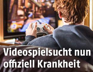 Mann spielt ein Videospiel