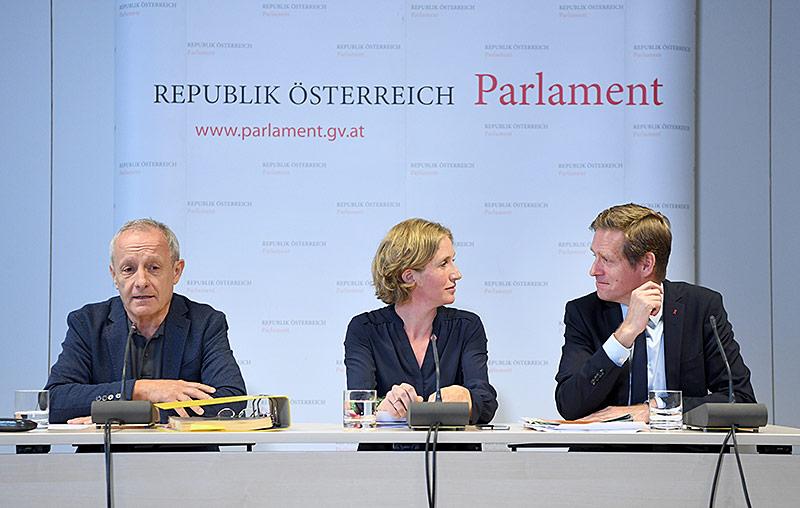Peter Pilz (Liste Pilz), Stephanie Krisper (Neos) und Kai Jan Krainer (SPÖ)