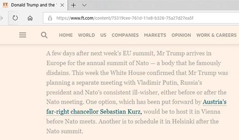 """Screenshot ft.com hebt die Textpassage """"Austrias far right chancellor Sebastian Kurz"""" hervor"""