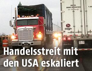 Lastwagen an der Kanadischen Grenze