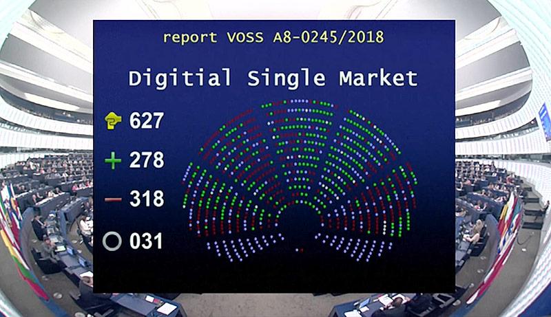 Screen zeigt das Abstimmungsverhalten der EU-Parlamentarier