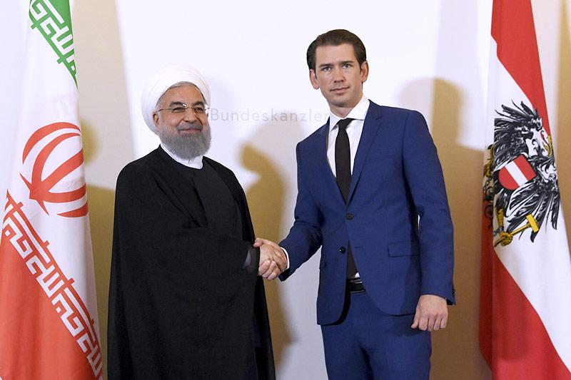 Irans Präsident Hassan Rouhani und Bundeskanzler Sebastian Kurz