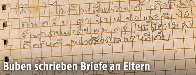 Brief von einem der in einer Höhle eingeschlossenen thailändischen Buben