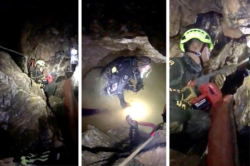Rettungskräfte in der Höhle
