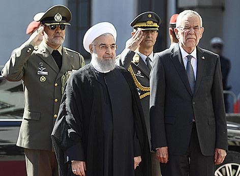 Irans Staatschef Rouhani wird von Bundespräsident Van der Bellen empfangen