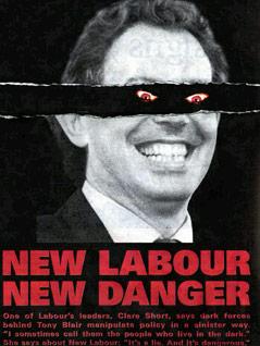 Plakat zeigt Tony Blair als Dämon