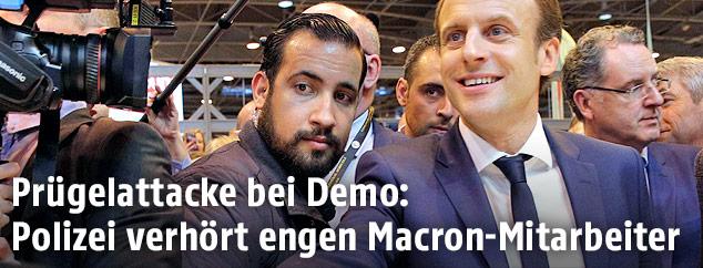 Sicherheitsmitarbeiter Alexandre Benalla und Frankreichs Staatspräsident Emmanuel Macron
