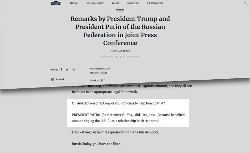 Screenshot der Webseite whitehouse.gov zeigt eine umstrittene Interviewpassage
