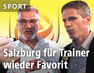 Admira-Trainer Ernst Baumeister und St.-Pölten-Trainer Dietmar Kühbauer