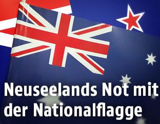 Australische Flagge auf Neuseeländisher flagge