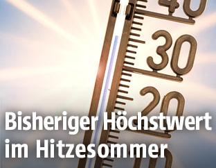 Thermometer im Sonnenschein