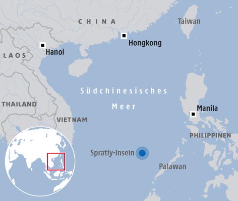 Karte vom Südchinesischen Meer und den Spratly-Inseln