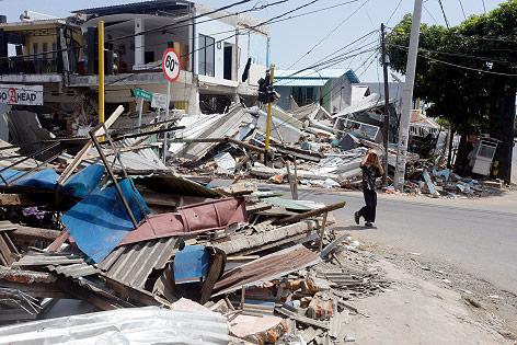 Zerstörte Häuser in Lombok