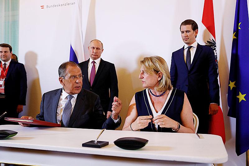 Der russische Außenminister Sergei Lavrov und Außenministerin Karin Kneissl in Wien am 5. Juni 2018