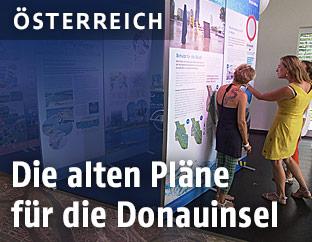 Ausstellung über die alten Pläne der Donauinsel